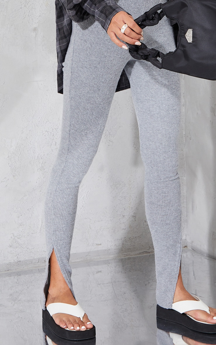 Grey Brushed Rib Split Hem Leggings 4
