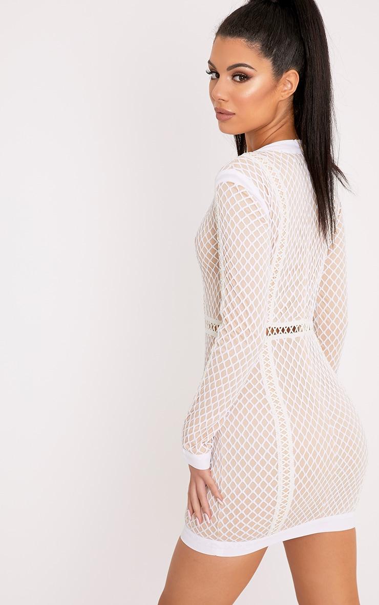 Thea White Fishnet Panel Bodycon Dress 2