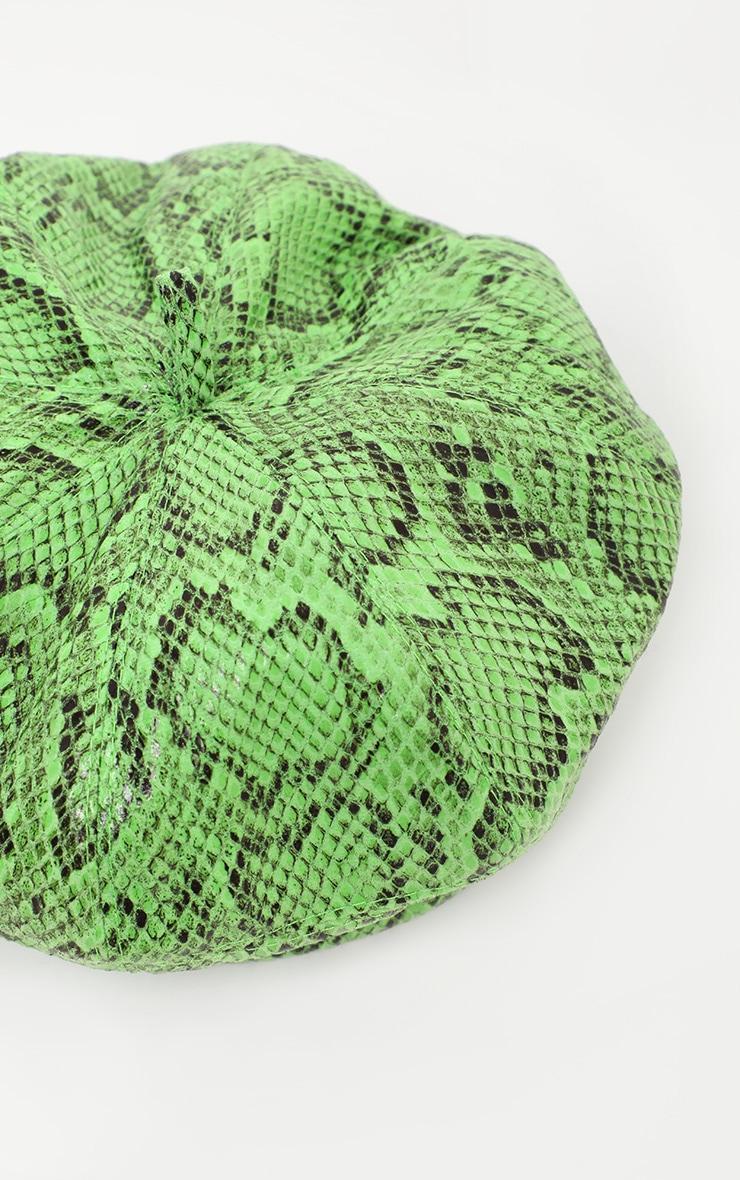 Neon Lime Snake Print Beret 3