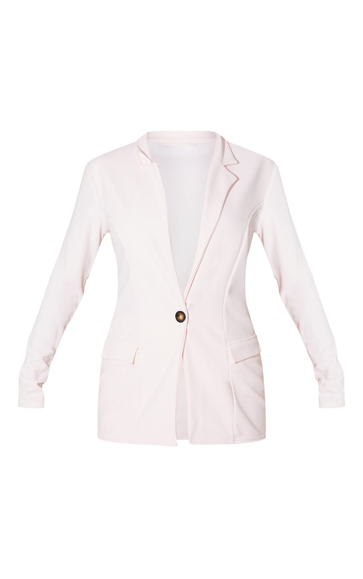 Light Pink Fitted Button Detail Crepe Blazer 5