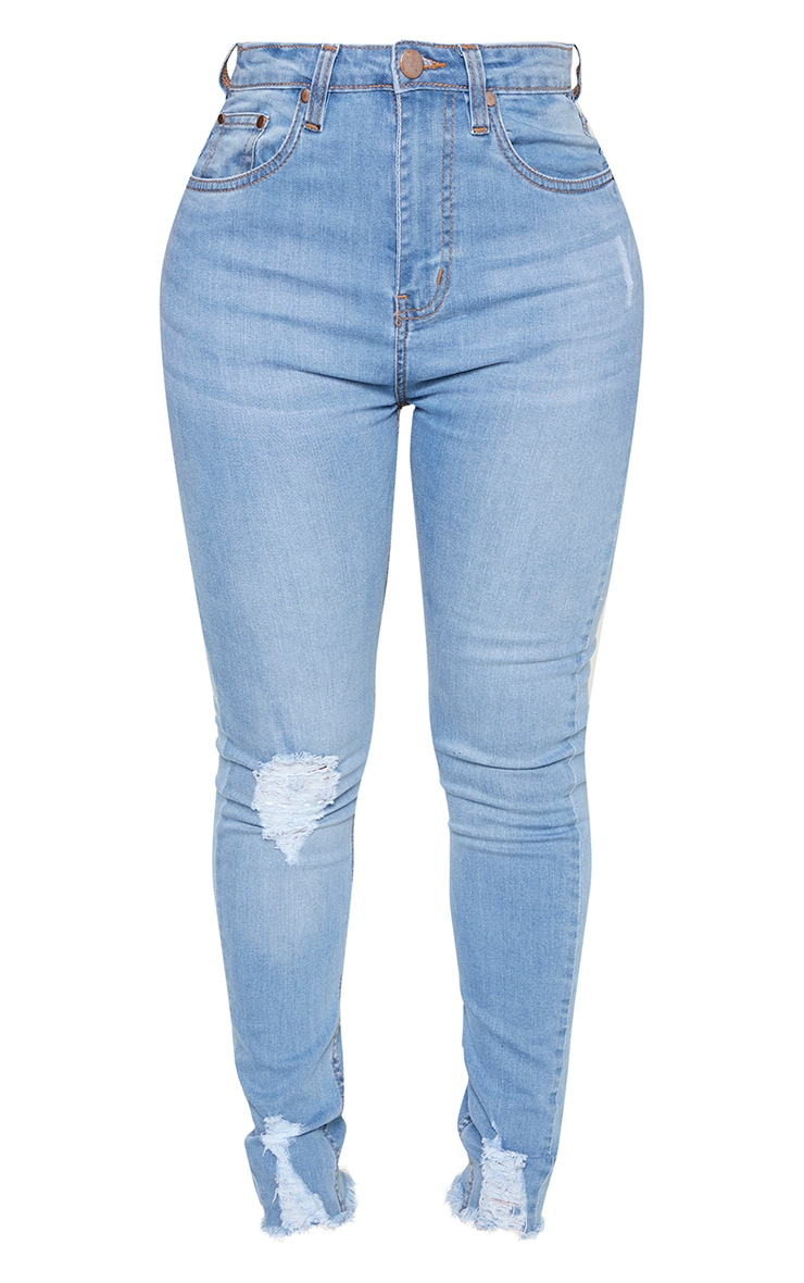 Shape Light Wash High Waisted Ripped Cuff Jeans 3