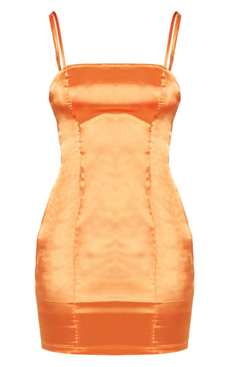 Petite Orange Satin Strappy Straight Neck Bodycon 3