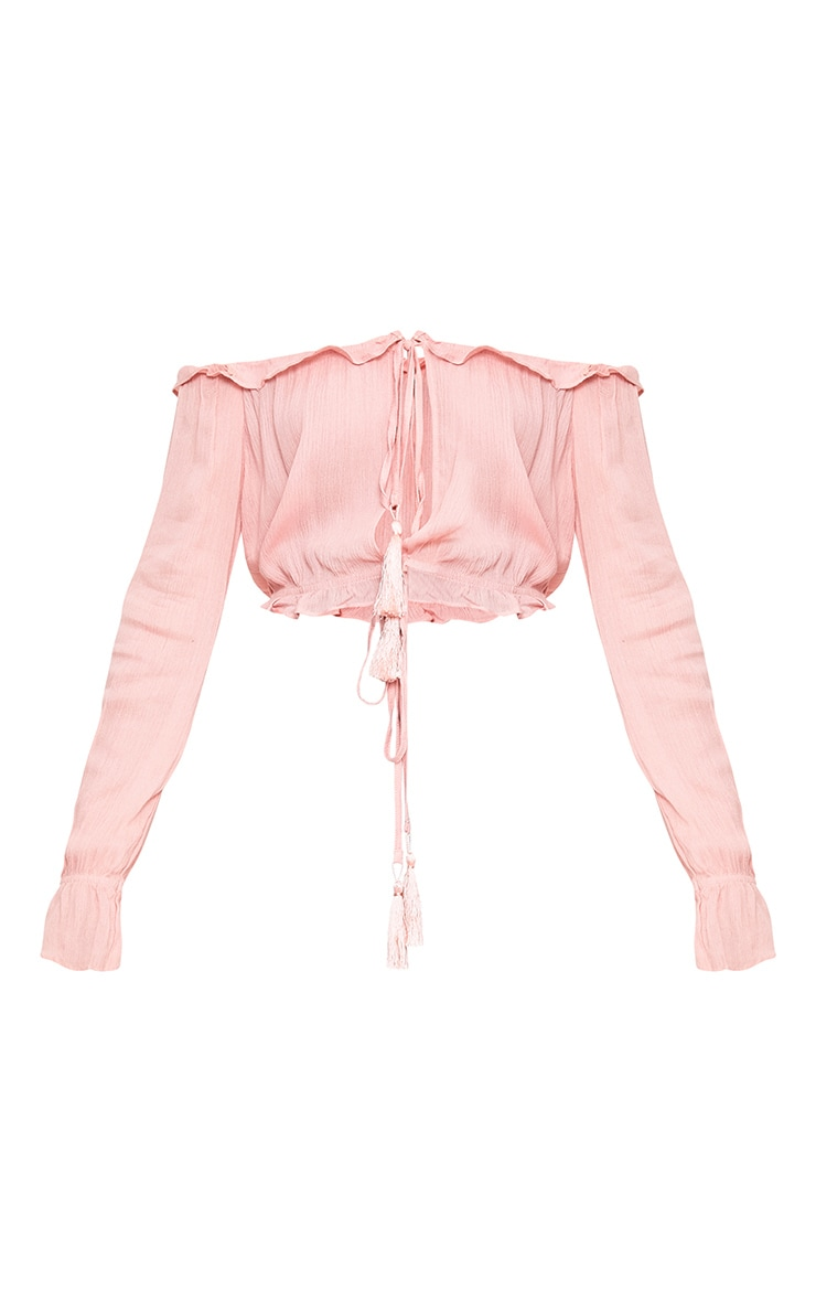 Baby Pink Bardot Double Tie Front Top 3