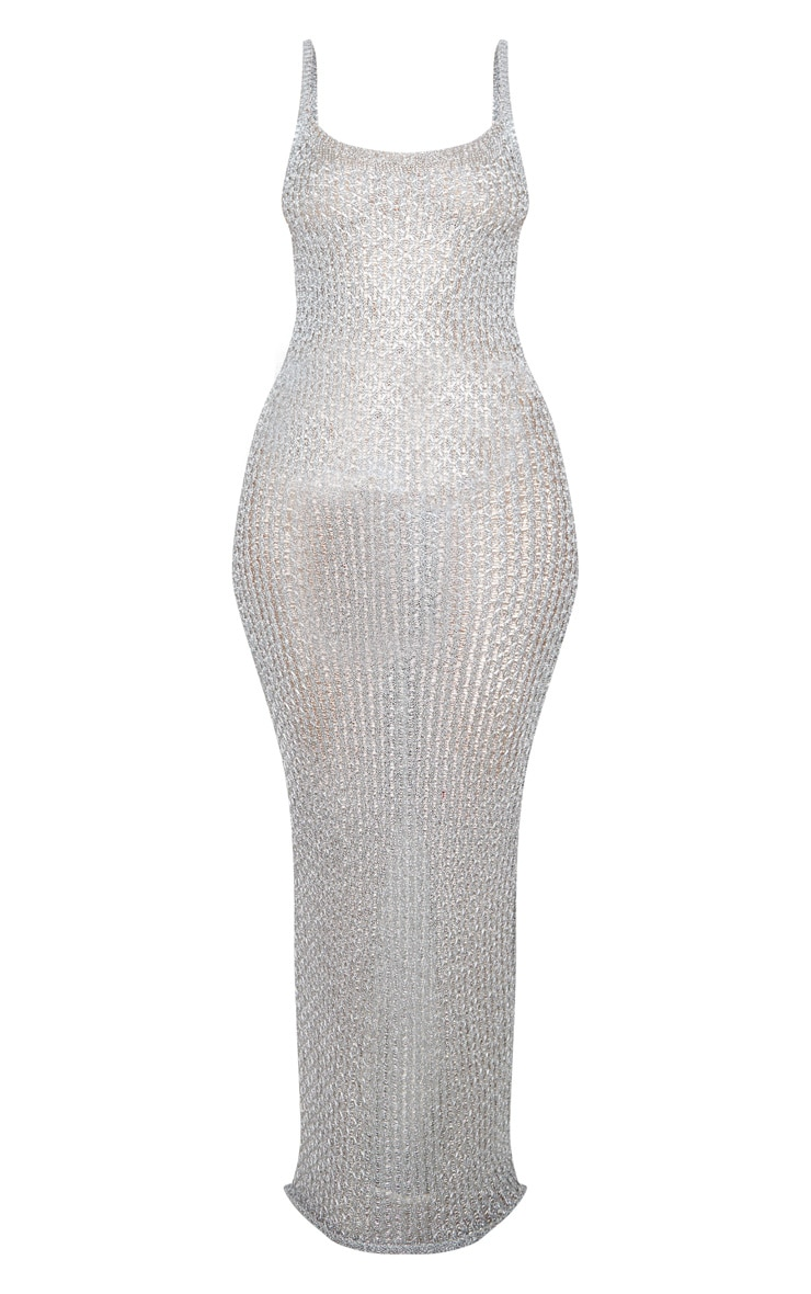 Silver Metallic Knitted Maxi Dress 5