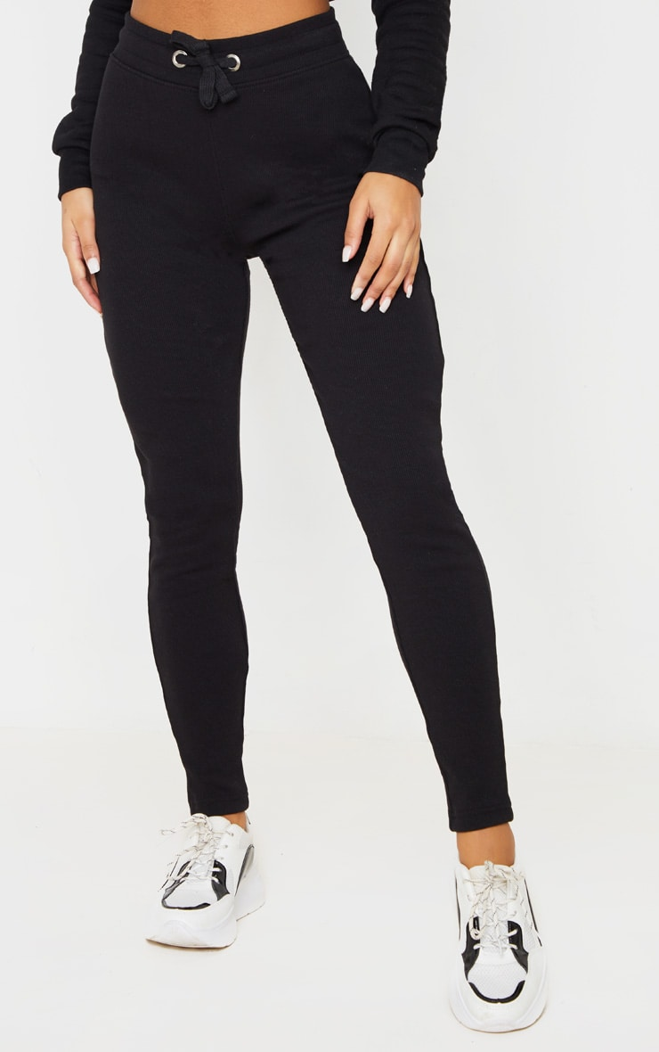 Black Ribbed Skinny Jogger 2