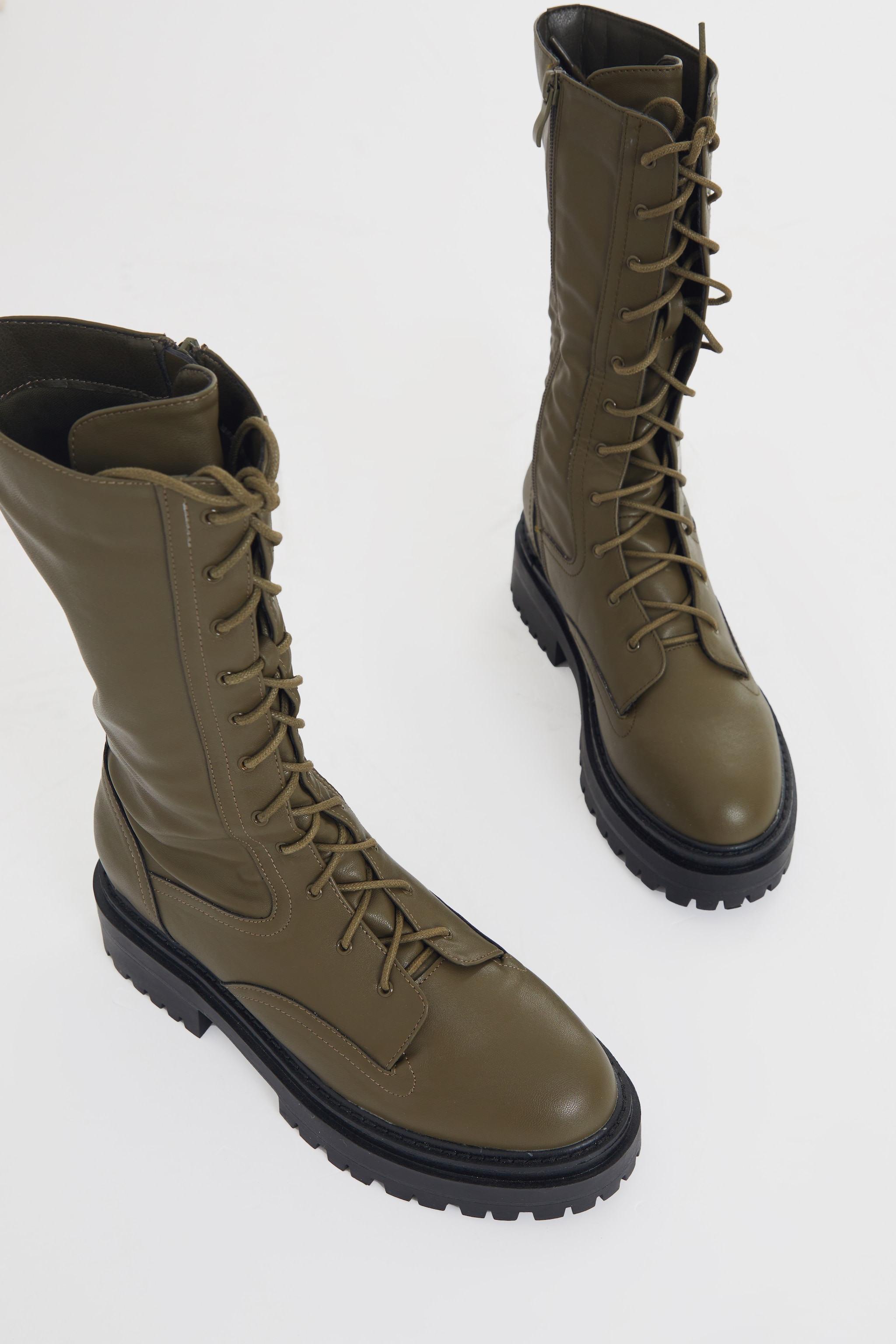 Khaki Calf High Lace Up Chunky Biker Boots 4