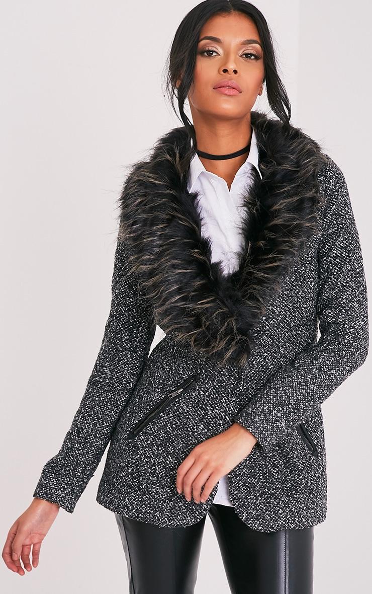 Jenifa manteau boucle gris avec col en fausse fourrure 1