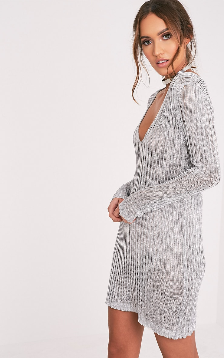 Abionae Metallic Silver Knit V Neck Jumper Dress 4