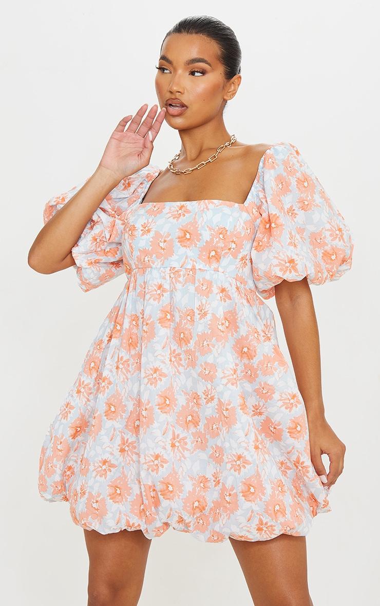 Peach Floral Print Puff Sleeve Puffball Dress 1