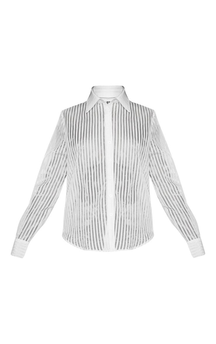 White Stripe Sheer Oversized Shirt 3