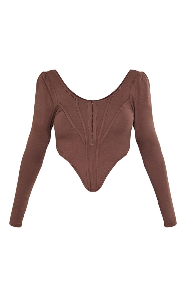 Chocolate Jersey Long Sleeve Pointed Hem Corset 4