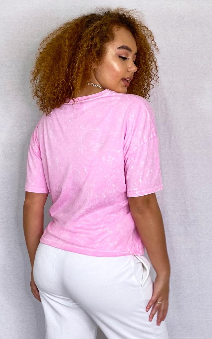Plus Pink Acid Wash Oversized T Shirt 2