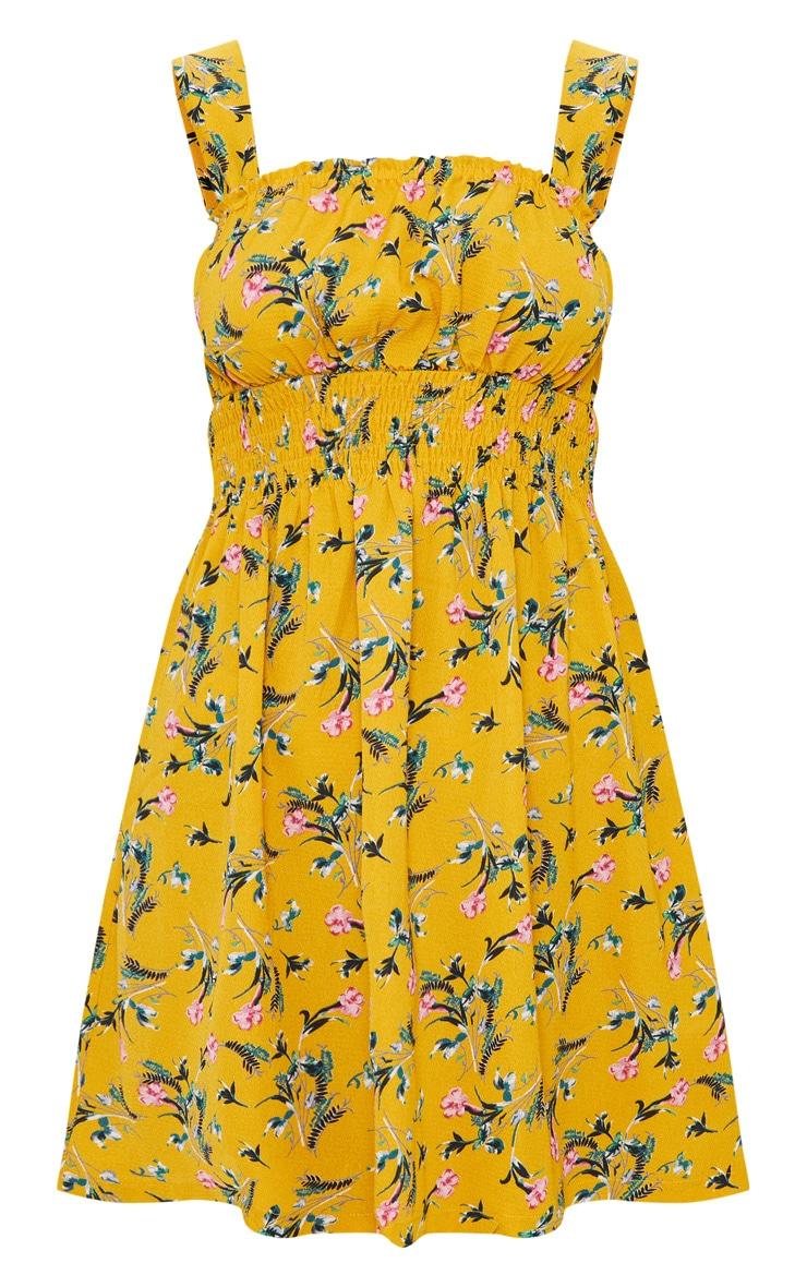 Mustard Floral Frill Detail Skater Dress 3