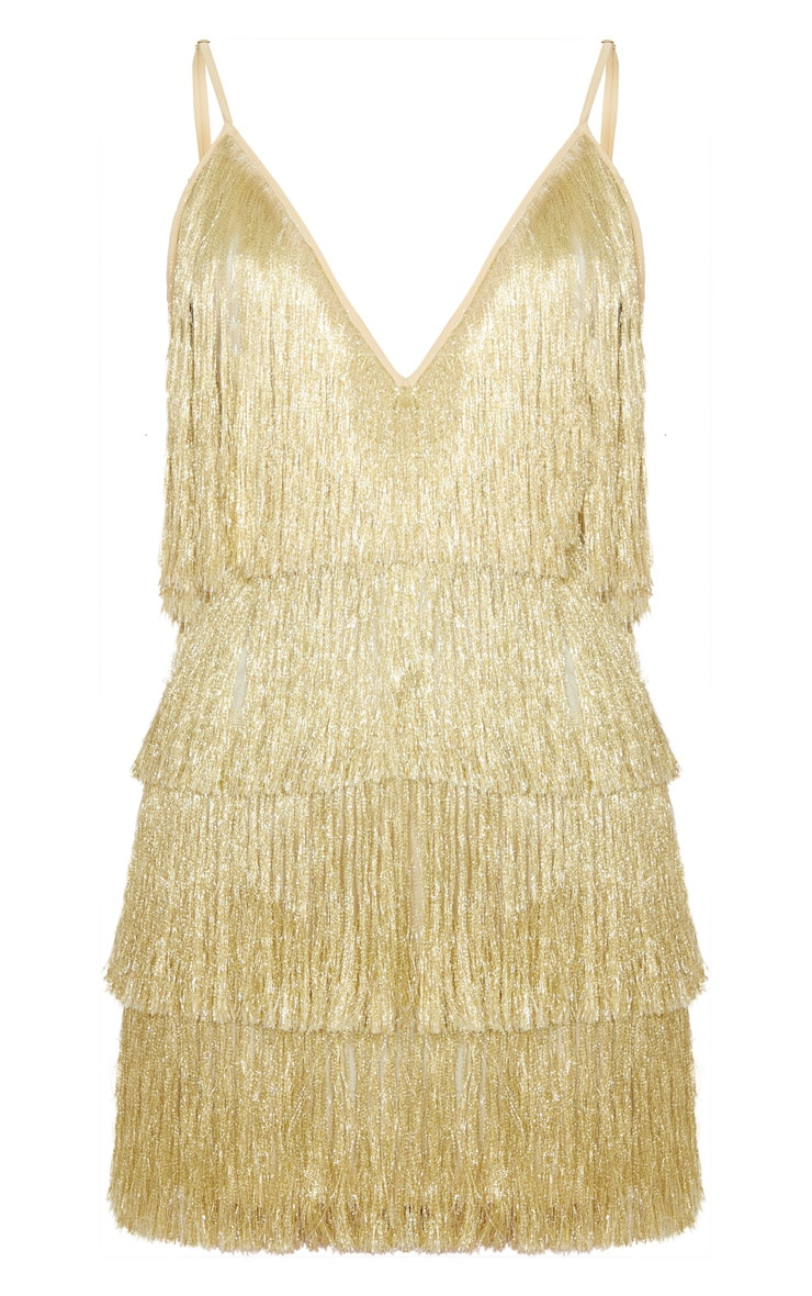 Gold Tassel Fringed Strappy Bodycon Dress 3