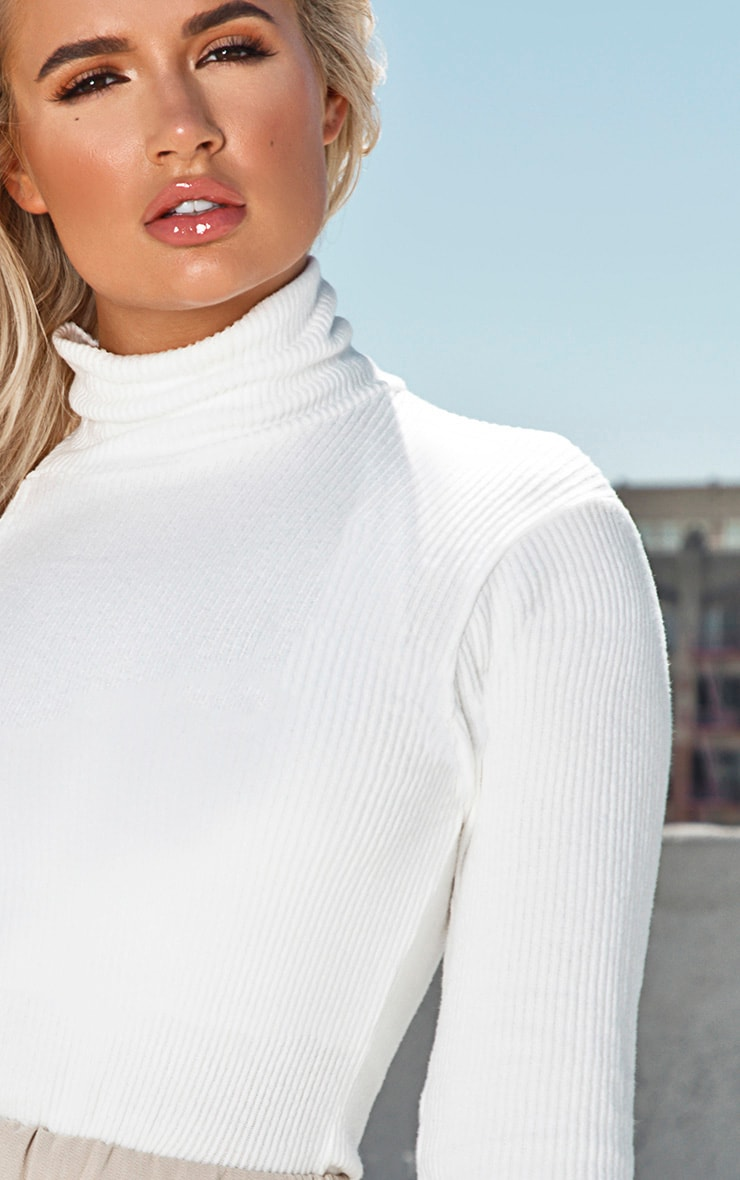 Cream Brushed Rib One Sleeve Top  5
