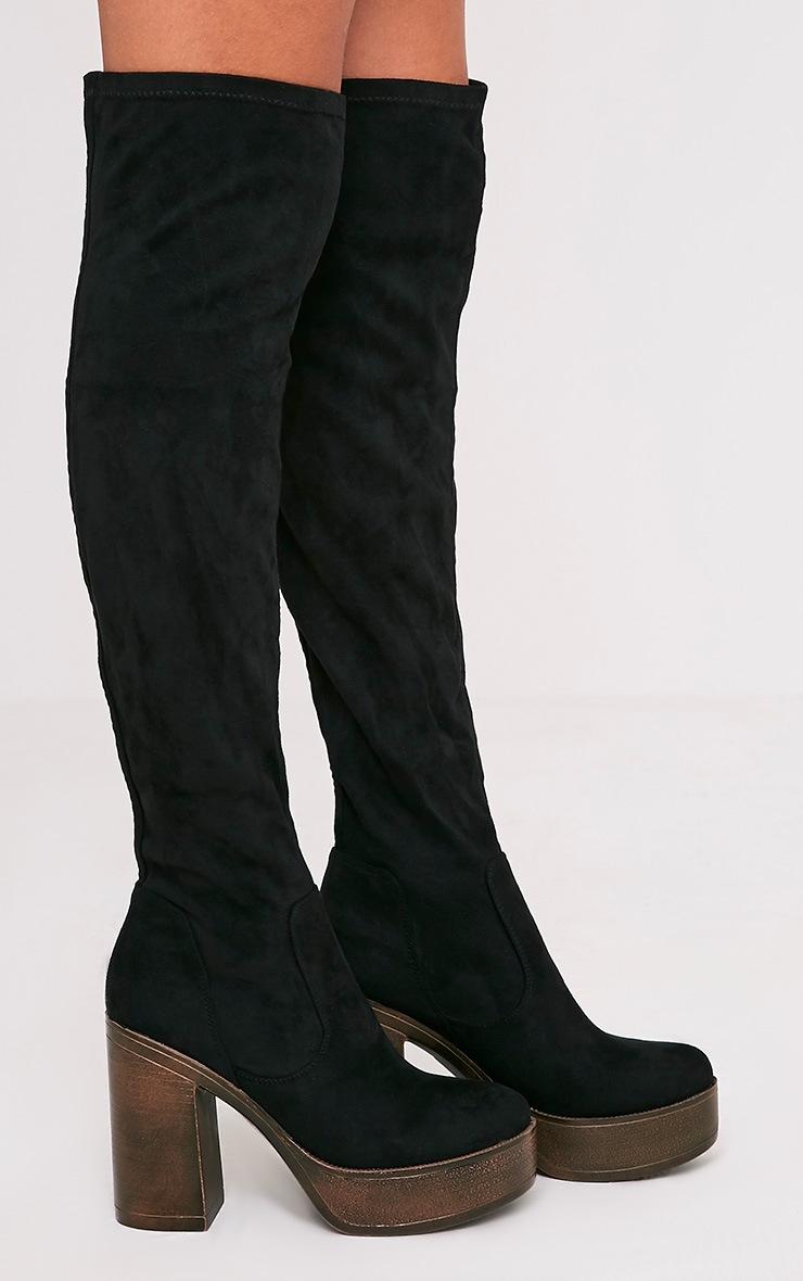 Denney Black Faux Suede Platform Over The Knee Boots 3