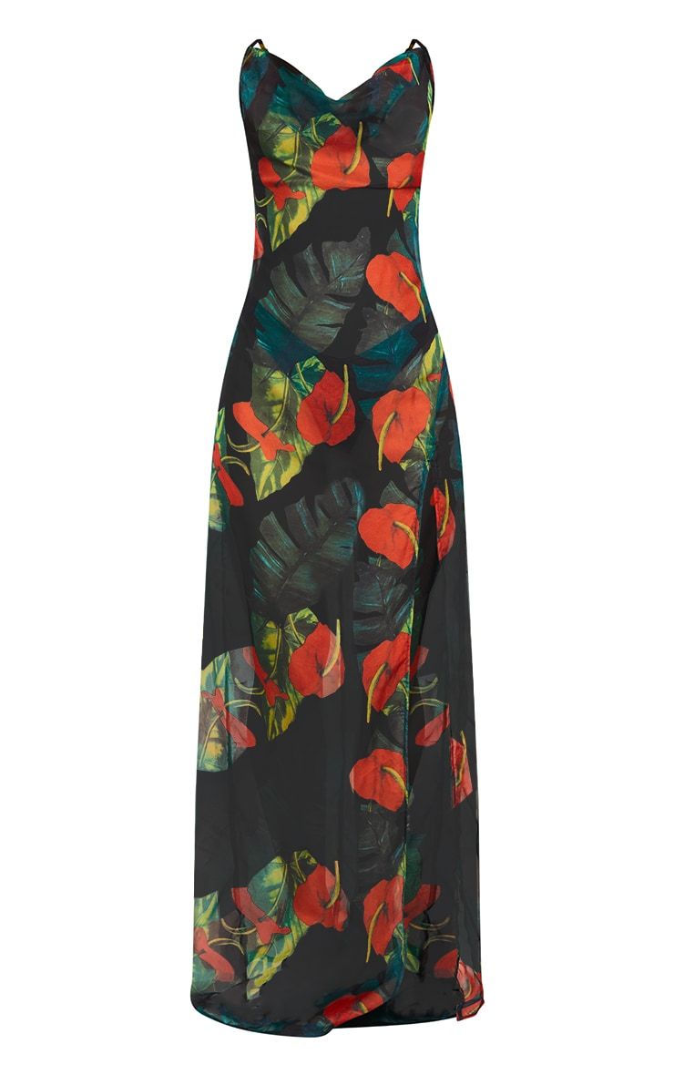 Red Floral Palm Cowl Neck Beach Dress 6