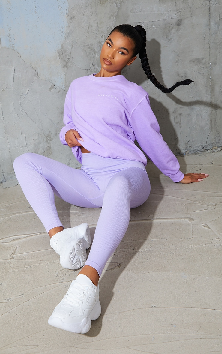 PRETTYLITTLETHING Lilac Washed Oversized Sweater 3