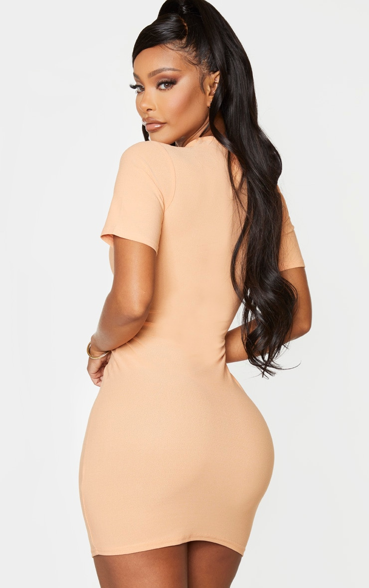 Shape Peach Crepe Cup Detailed Bodycon Dress 2