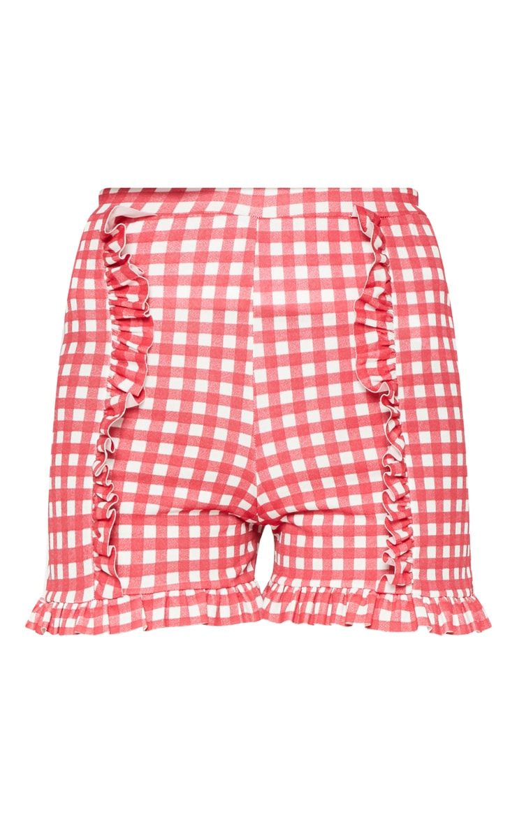 Red Gingham Check Frill Short  3