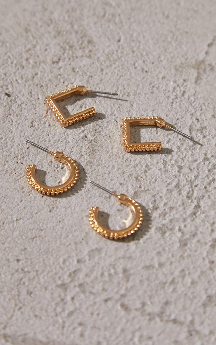 Gold Mini Textured 2 Pack Hoop Earrings 1