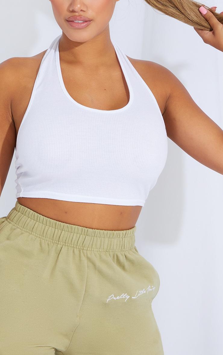 Shape White Rib Detail Halterneck Crop Top 4