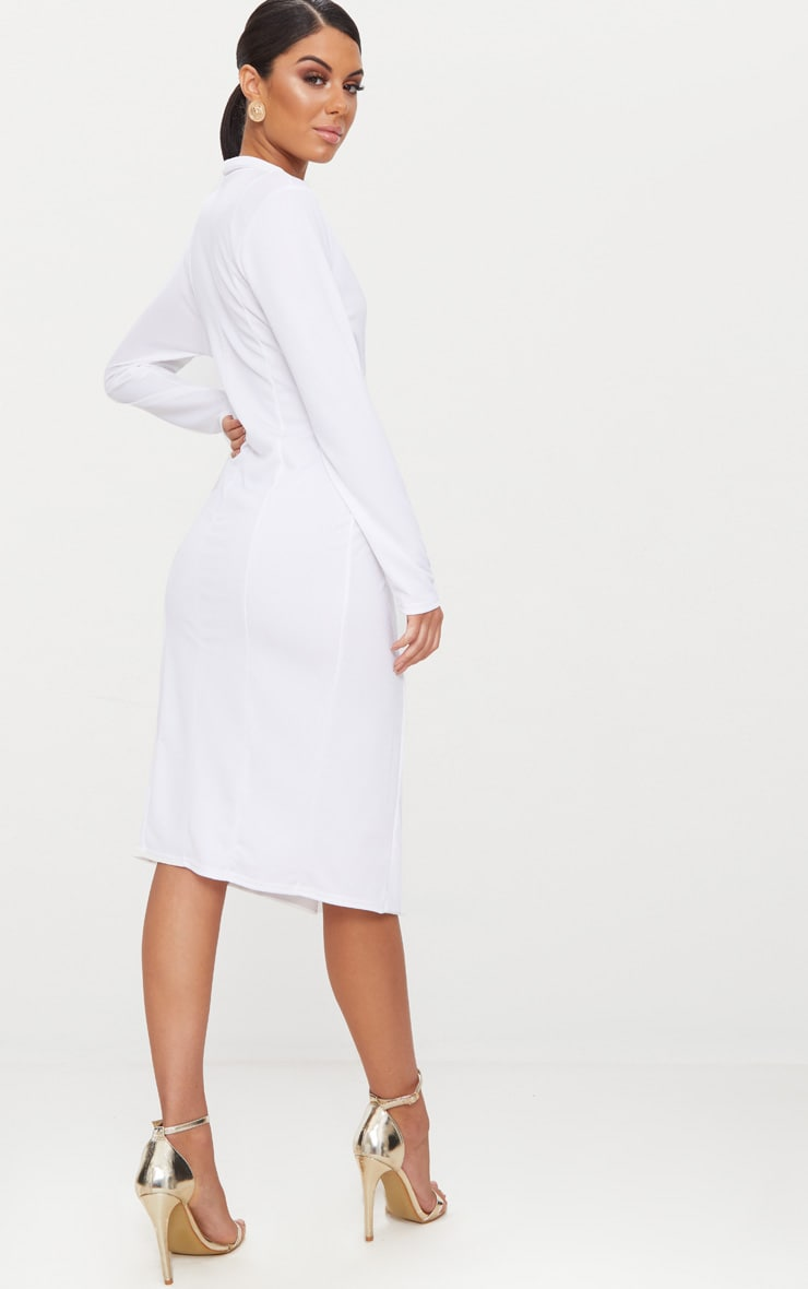 White Button Detail Blazer Midi Dress 2