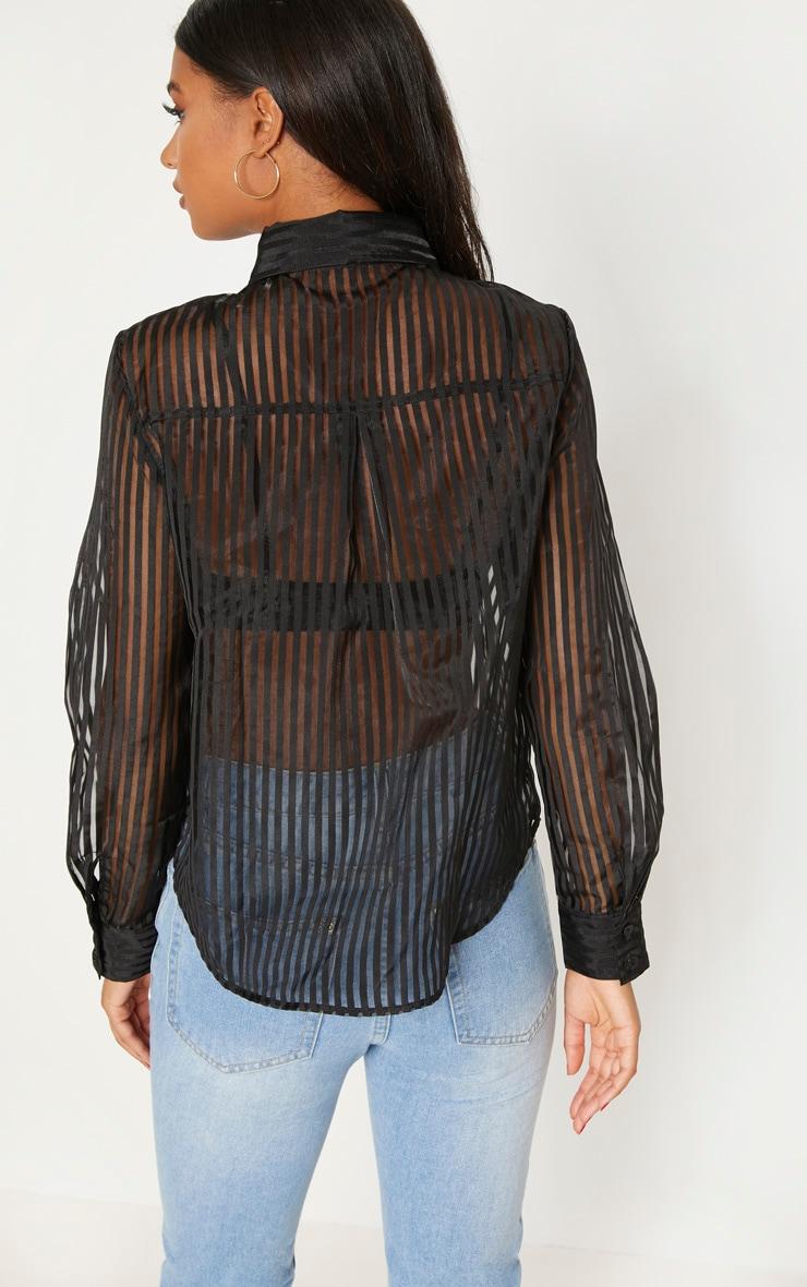 Black Stripe Sheer Shirt 2