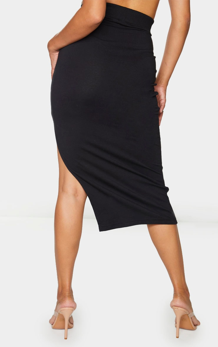 Black Thick Rib Split Side Midaxi Skirt 3