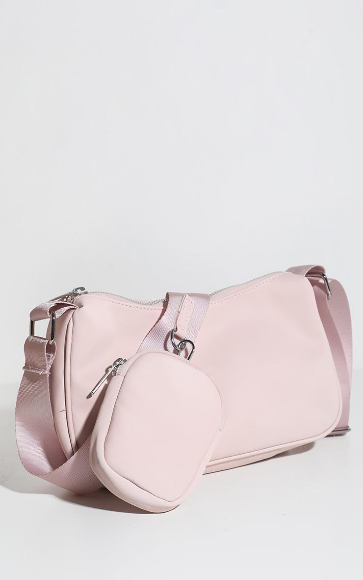 Baby Pink Multi Pocket Cross Body Bag 1