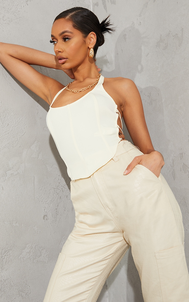 Cream Woven Corset Style Lace Up Back Halterneck Crop Top 2