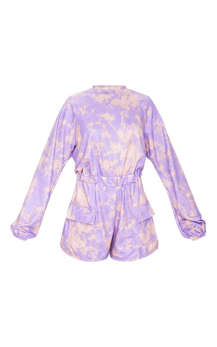 Purple Tie Dye Sweat Long Sleeve Pocket Playsuit 5
