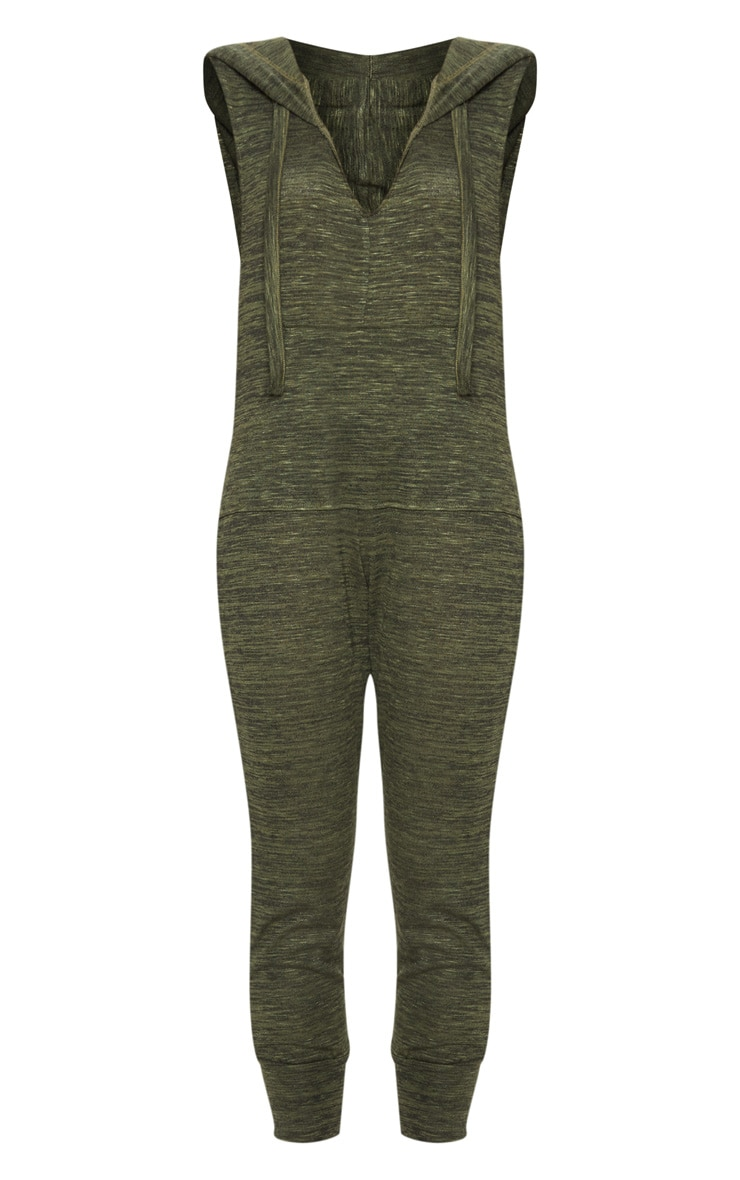 Khaki Knitted Hooded Jumpsuit 3