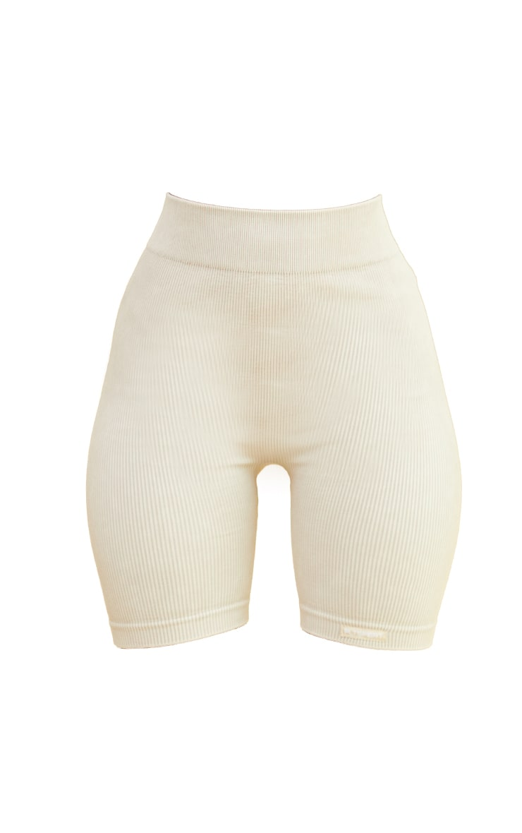Oatmeal Acid Wash Seamless Ribbed Ruched Bum Booty Shorts 6