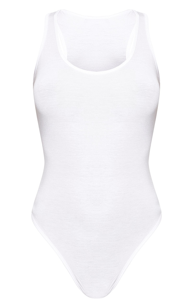 White Basic Racer Back Bodysuit 2 Pack 7