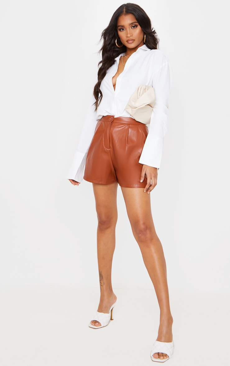 Tan Faux Leather Tailored Shorts 1