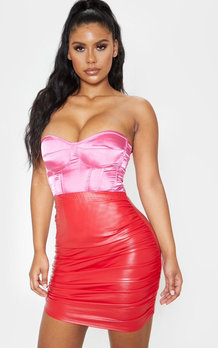 Red PU Ruched Detail Mini Skirt 2