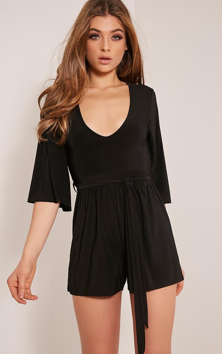 Sharnah Black Kimono Sleeve Plunge Playsuit 1
