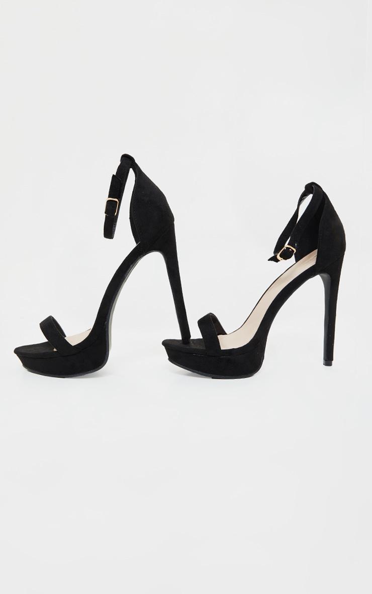 Black Platform Strap Heeled Sandal 4