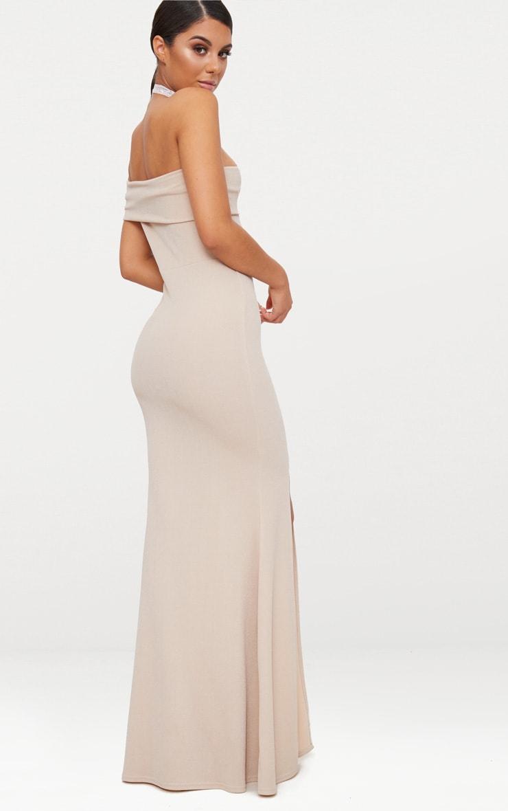 Nude One Shoulder Bardot Split Detail Maxi Dress 2