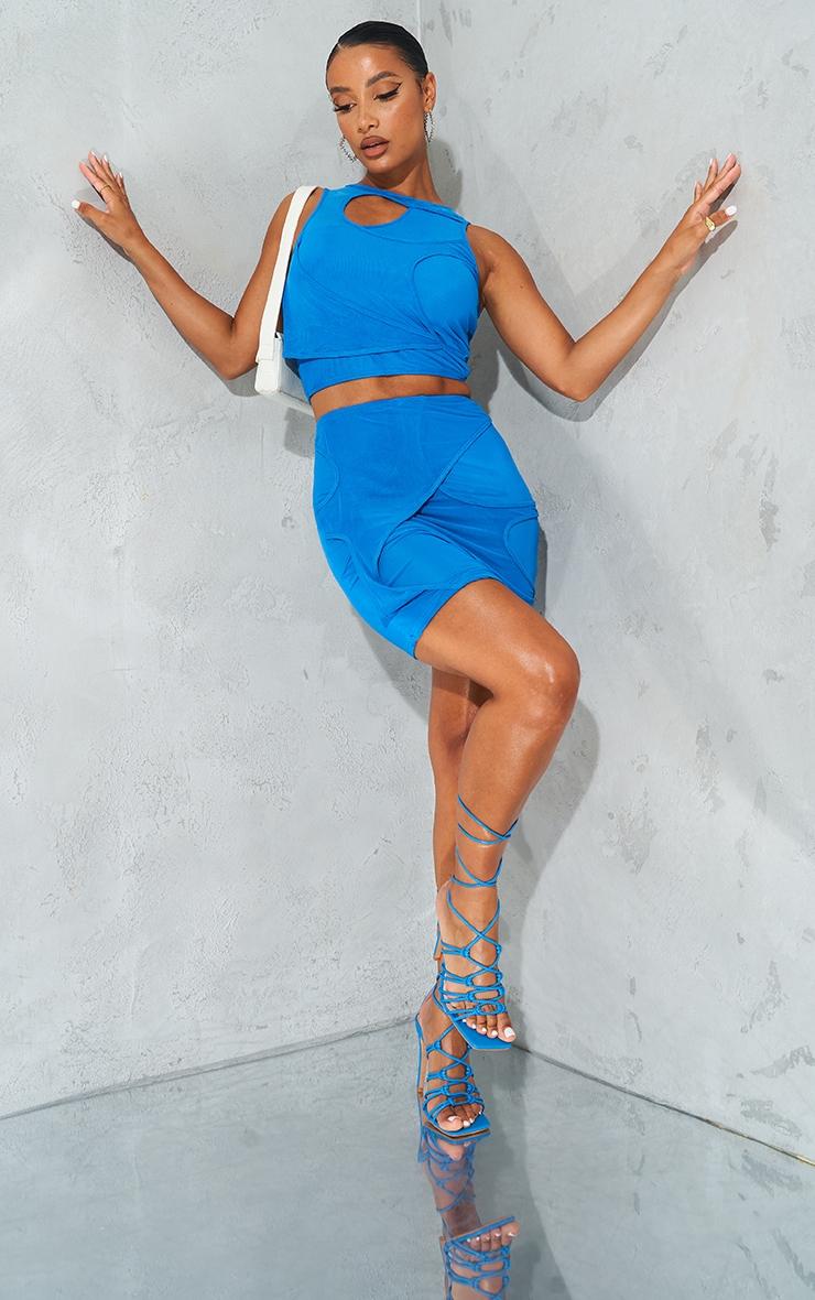 Bright Blue Sheer Mesh Cut Out Mini Skirt 1