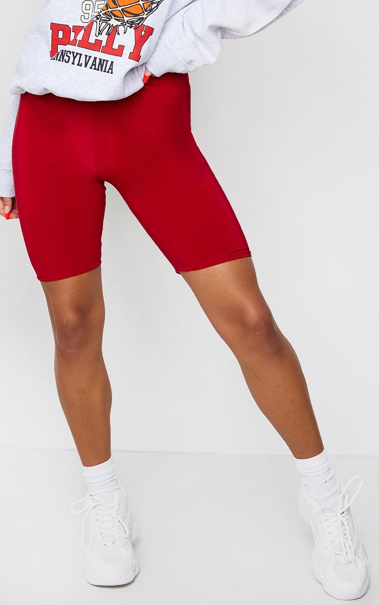 Bella Red Slinky High Waisted Bike Shorts 2