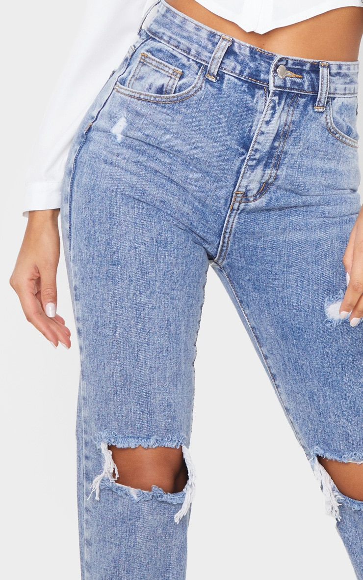 Vintage Wash High Rise Distressed Straight leg Jean 5