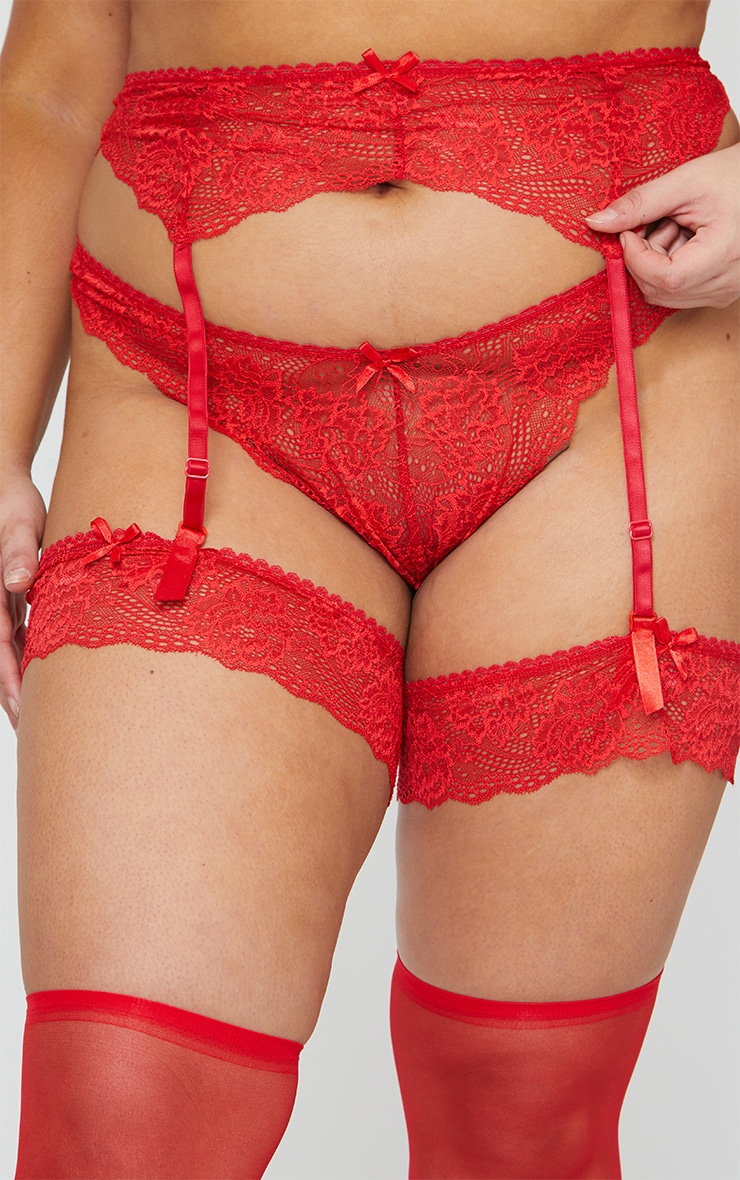 Plus Red Suspender, Hold Up & Knickers Set 2