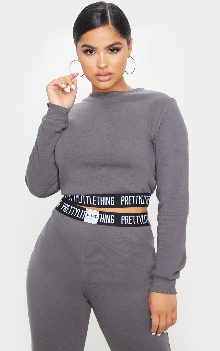 PRETTYLITTLETHING Petite Charcoal Lounge Sweat 1
