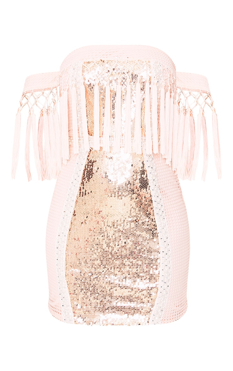 Carlucia Nude Premium Sequin Tassel Bardot Mini Dress 3