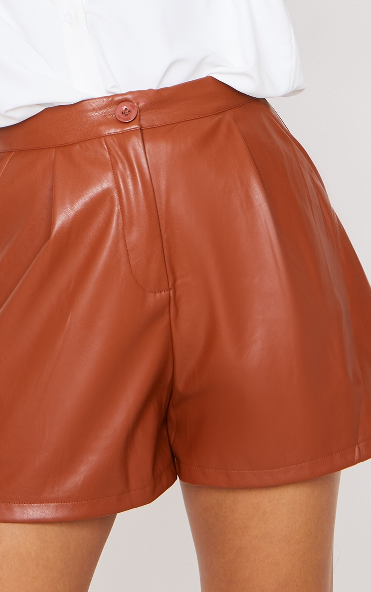Tan Faux Leather Tailored Shorts 6