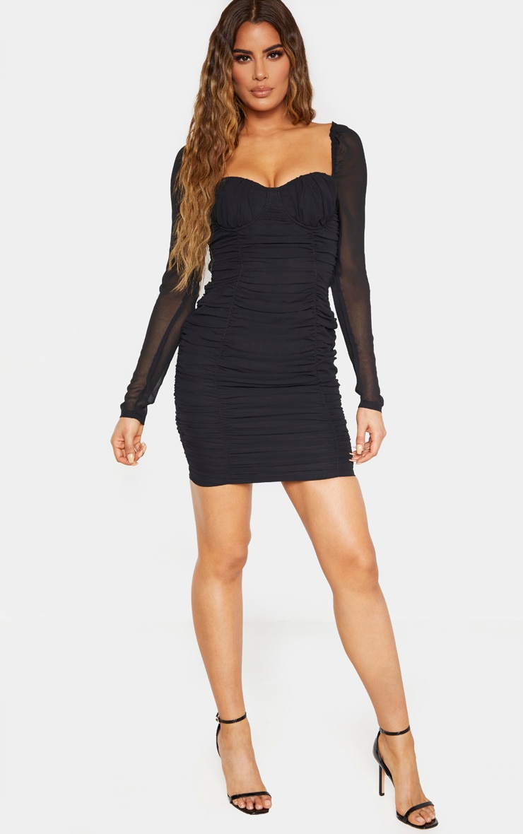 Tall Black Ruched Mini Dress 4