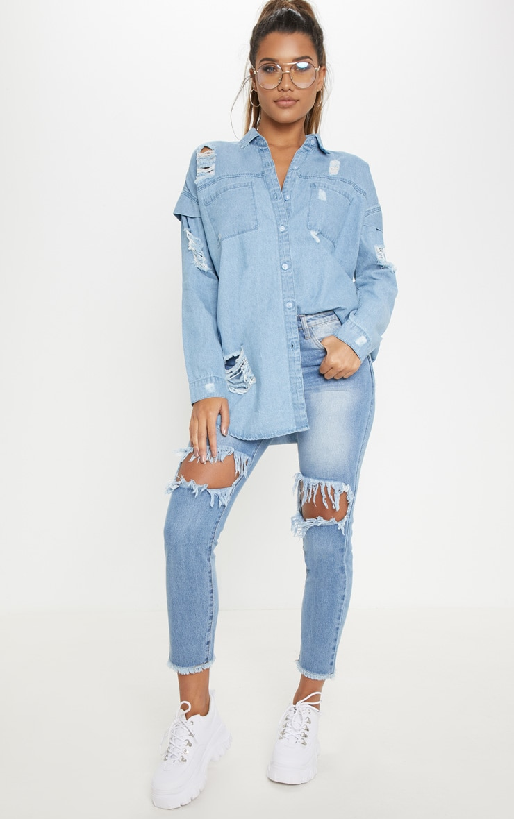 Light Wash Oversized Denim Shirt 1