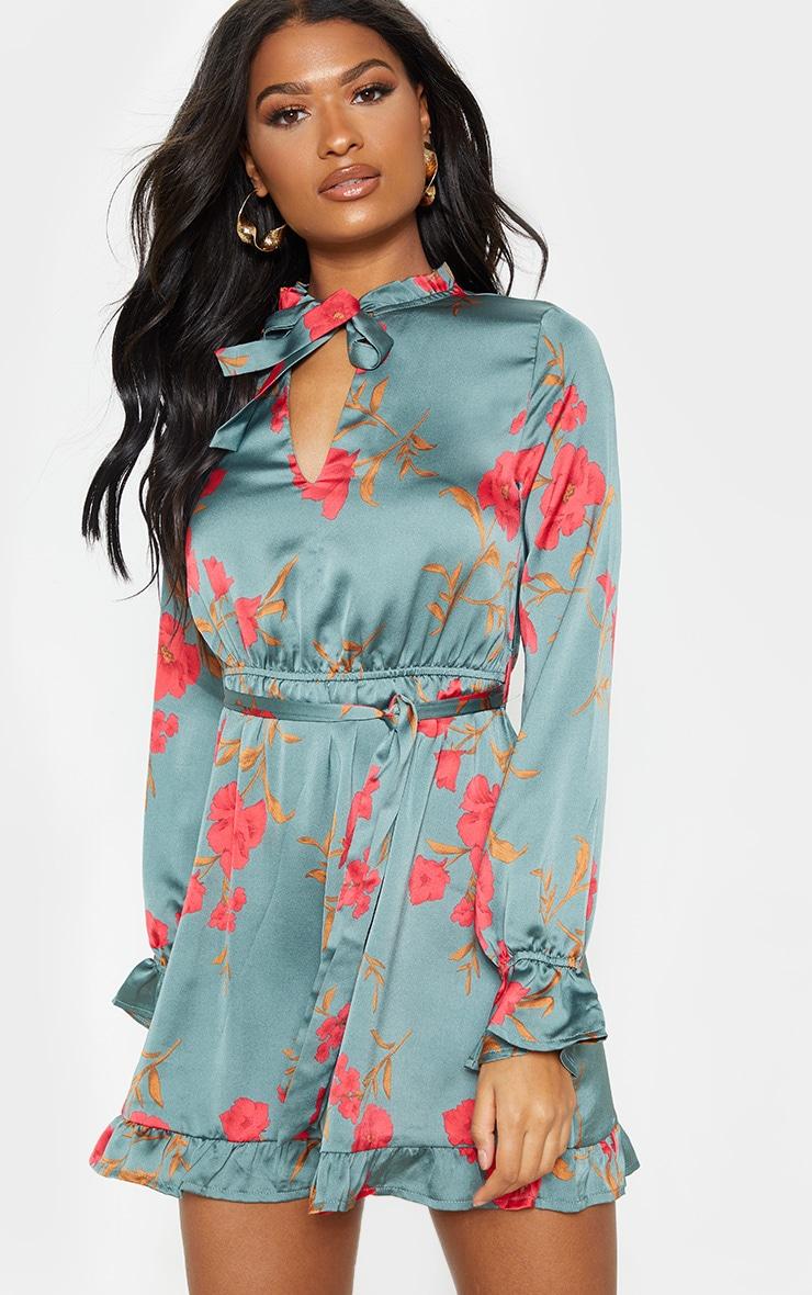 Teal Floral Print Tie Neck Frill Shift Dress 1